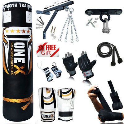 A NEW 3-4-5 FT Heavy Filled Punch Bag Buyer Build MMA Set,Chains,Bracket,Gloves