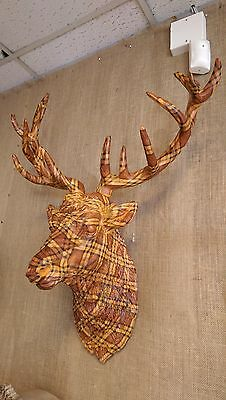 Large Tartan Resin Hand Painted Stags Bust, Stags Head Wall Mounted Stags Head