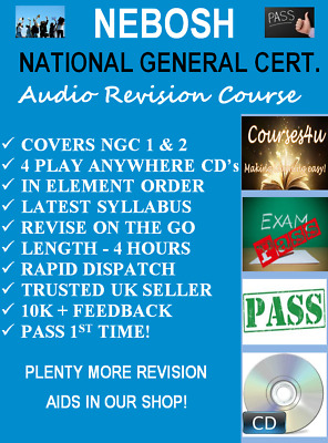 NEBOSH National General Certificate Audio Revision Pack 4 x CD's*LATEST SYLLABUS