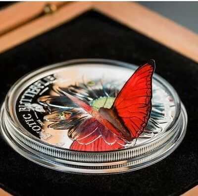 EXOTIC BUTTERFLIES 3D CYMOTHOE HOBART 2016 1000 Shillings 25g Pure Silver COIN