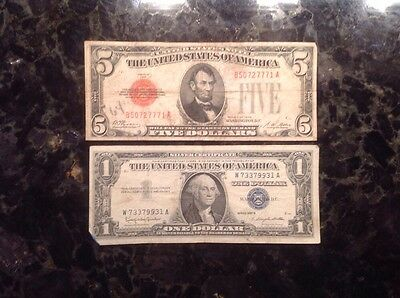 1928  $5 United States  Note - Red Seal + 1957B $1 Silver Certificate - Blue Sea