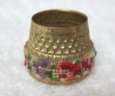 Older 1/2 Thimble Metal w Rose Petite Point Off White Background  M3