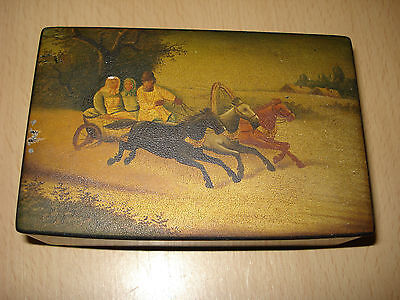 Antique Imperial Russian Vishniakov Lacquer Box Troika