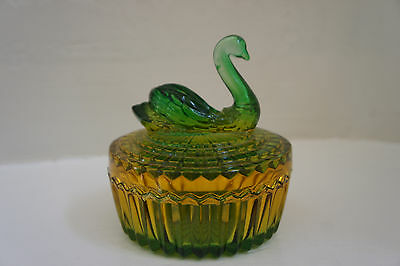 Jeannette Glass Trinket Box Opalescent Green & Amber Luster Swan