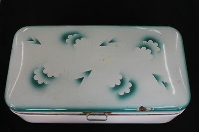 vintage brotkasten emaille white enamelware bread box teal turquoise art deco