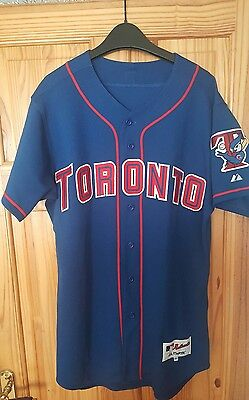 large 44 toronto blue jays baseball jersey majestic authentic red trim l size
