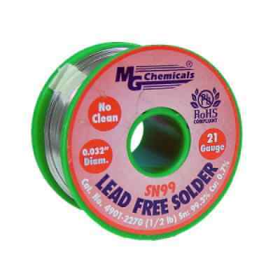 MG Chemicals Lead Free Solder Wire Roll 0.81mm Dia. 227g SN99 No Clean 4901-227G