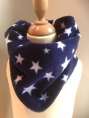 Childrens Navy Blue & White Stars Fleece Winter Neck Warmer Scarf - Handmade