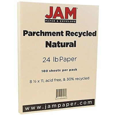 """JAM Paper Parchment Paper - 8.5"""" x 11"""" - 24 lb Natural Recycled- 100/pack"""