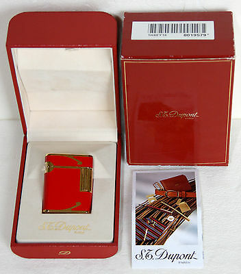 Vintage S.t. Dupont Soubreny Paris Luxury Lighter Red Lacquer Gold Trim Art Deco