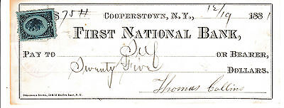 1881 FIRST NATIONAL BANK of COOPERSTOWN, NY  W/REVENUE STAMP