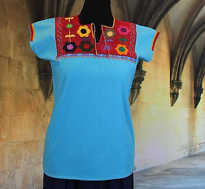 Turquoise & Red Hand Embroidered Mayan Huipil Chiapas Mexico Hippie Boho Cowgirl