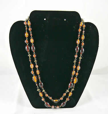 Stunning Vintage Amber Beads Plastic Necklace (N014)