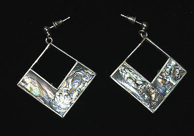 Vintage Silver Pierce Earrings Shell Sparkling Mexico Stamp