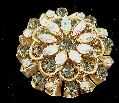 Vintage Brooch Gold Tone With Borealis And Smoke Color Rhinestones (B02)