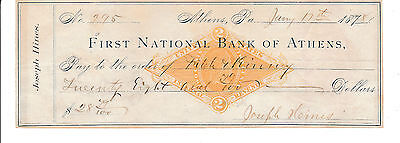1878 ANTIQUE CHECK  FIRST NATIONAL BANK of ATHENS, PENNSYLVANIA W/REVENUE