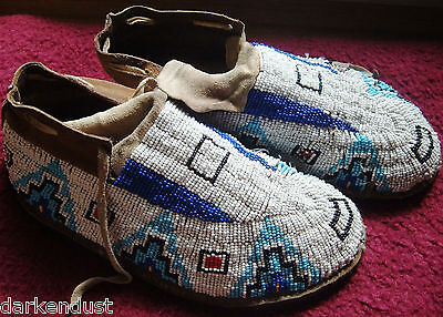 Vintage Native American Indian Beaded Moccasins Pow-Wow
