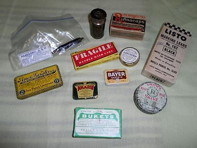 Lot Of Vintage Medicine Tins & Boxes Pencil Refills Stickers Bayer Anacin Listo