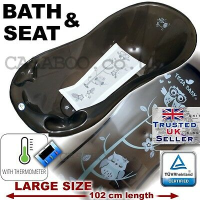 SET LARGE Lux 102cm length Baby Bath Tub + Support seat  and THERMOMETHER -Black
