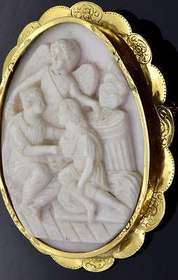 MUSEUM 18th Century Georgian 22k coin gold&carved shell large Cameo brooch.RARE