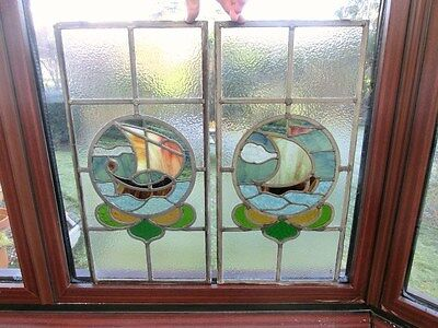 2 x Arts & Crafts? Stained Glass Panels of Sail Boats with Hartley Wood Glass