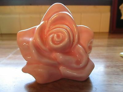 Vintage Pink Pottery Rose Shaped Wall Pocket ~Mint~