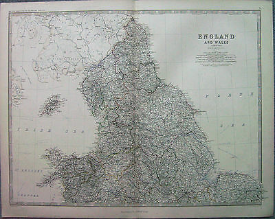 1873 Old Original Antique Map Of Northern England & North Wales