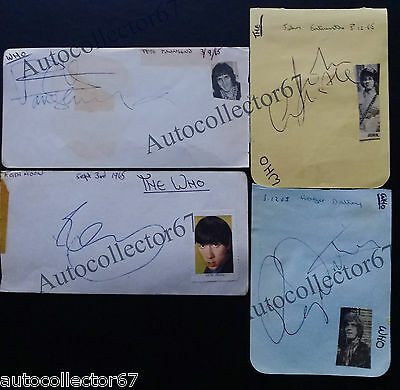 THE WHO AUTOGRAPHS signed 1965 KEITH MOON ROGER DALTREY PETE TOWNSHEND ENTWISTLE