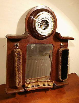 Antique Vintage Wall Barometer with mirror brush set hallway wall decoration