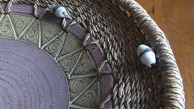 African Hand Crafted, Woven Basket Serving Plate, w beads & clay bottom, Ghana