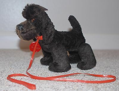 Vintage Schuco Germany Trip Trap Mohair Poodle Dog With Collar Leash ID Tag!