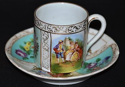 18Th C Meissen Hand Painted Porzelain Cup & Saucer With Gorgeous Gold Details