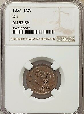1857 Braided Hair Half Cent, C-1, PCGS AU-53