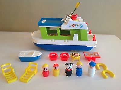 Vtg Fisher Price Little People #985 PlayFamily House Boat 1972 100% COMPLETE SET