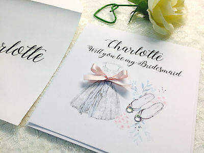 Will you be my Bridesmaid Maid of Honour or Flower Girl Personalised Invite Card