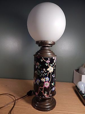 Antique Large 1880's Black With Floral Designs Cylindrical Oil Lamp, Electrified