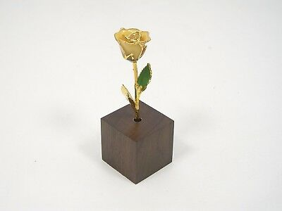 "24k Gold Dipped Ivory White Rose & Stand - 3"" (Free Anniversary Gift Box)"