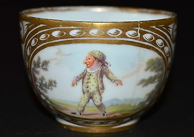 18Th C Meissen Hand Painted Porzelain Cup With Gorgeous Gold Details