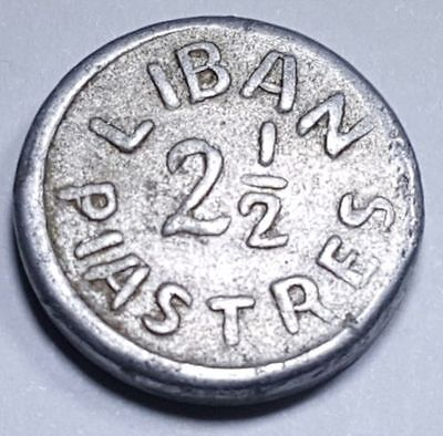 Lebanon 1941 2 1/2 Piastres French Protectorate Liban Antique Currency Coin