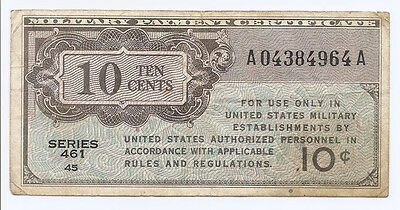 US Military Payment Certificate MPC Series 461 1946 10 Cents M2 WWII Era
