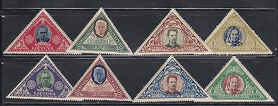 Lithuania 1933 Child Welfare Air Mail Triangle Perf Sets 8 stamps MNH  C71-C78