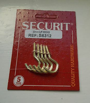 """Securit Brass Plated Screw in Shouldered Cup Hooks 25mm 1""""  Pack of 5 new"""