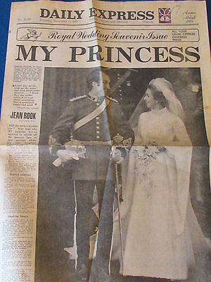 Daily Express 15/11/73 -8 page Wrap- Princess Anne & Mark Phillips Royal Wedding