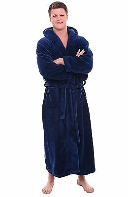 Del Rossa Men's Fleece Robe, Long Hooded Bathrobe LG/XL NAVY BLUE