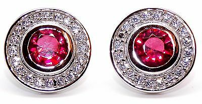 Sterling Silver Ruby And Diamond 2.26ct Stud Earrings (925)