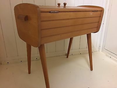 Vintage Retro Barrel Shape Sewing Box / Mid Century Craft Box With Contents