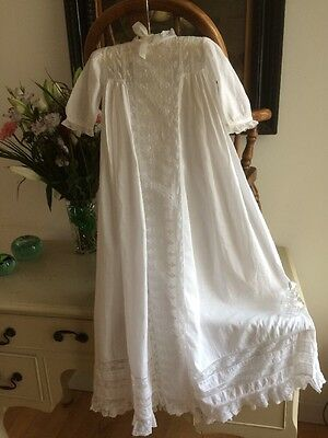 Victorian Christening Gown Baby Dress Extensive Lace Embroidery Stunning