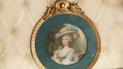 "Vintage Gilt French Style Round Picture Frame with Picture Portrait Glass 6"" wid"