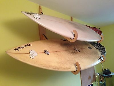 Surfboard wall rack - Double, wooden.