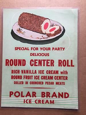 Vintage Polar Brand Ice Cream Poster Sign Lithograph Laminated 11 1/2 X 14 1/2